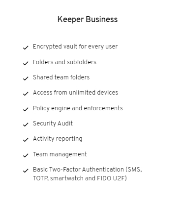 Keeper password manager Business